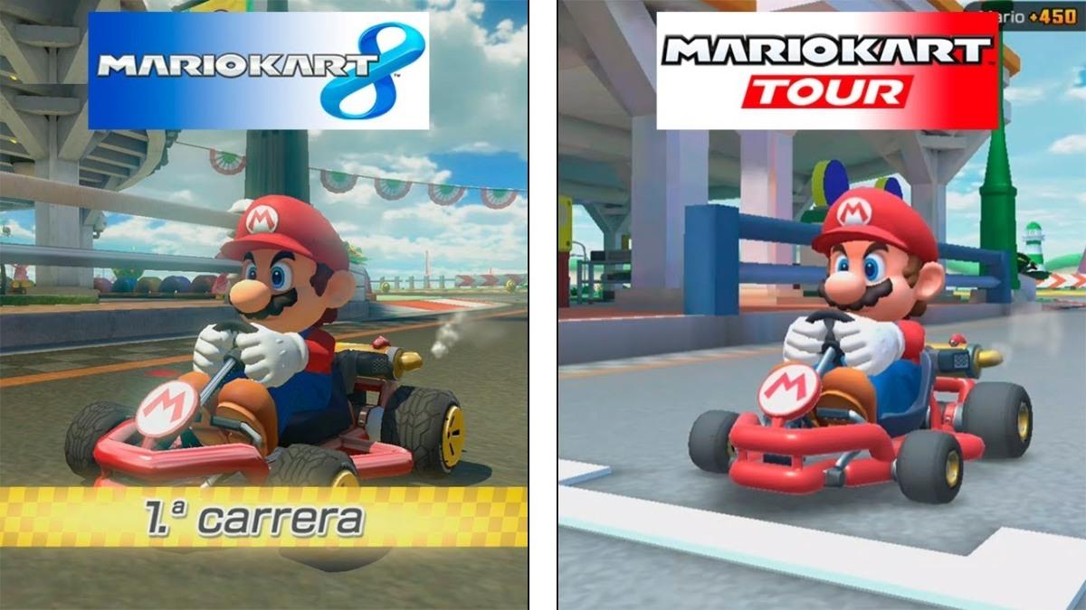 Mario Kart 8 vs Mario Kart Tour comparacióngráfica