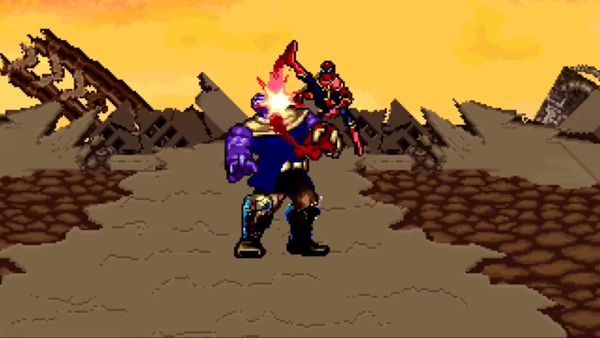 Re imaginan la pelea de los Avengers contra Thanos en 16bits