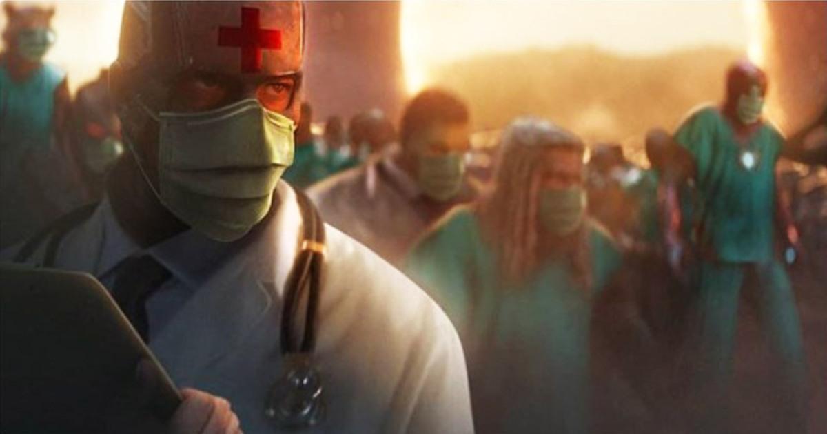 Esta es la imágen con la Mark Ruffalo reconoce a los médicos y enfermeros como los verdaderosHéroes