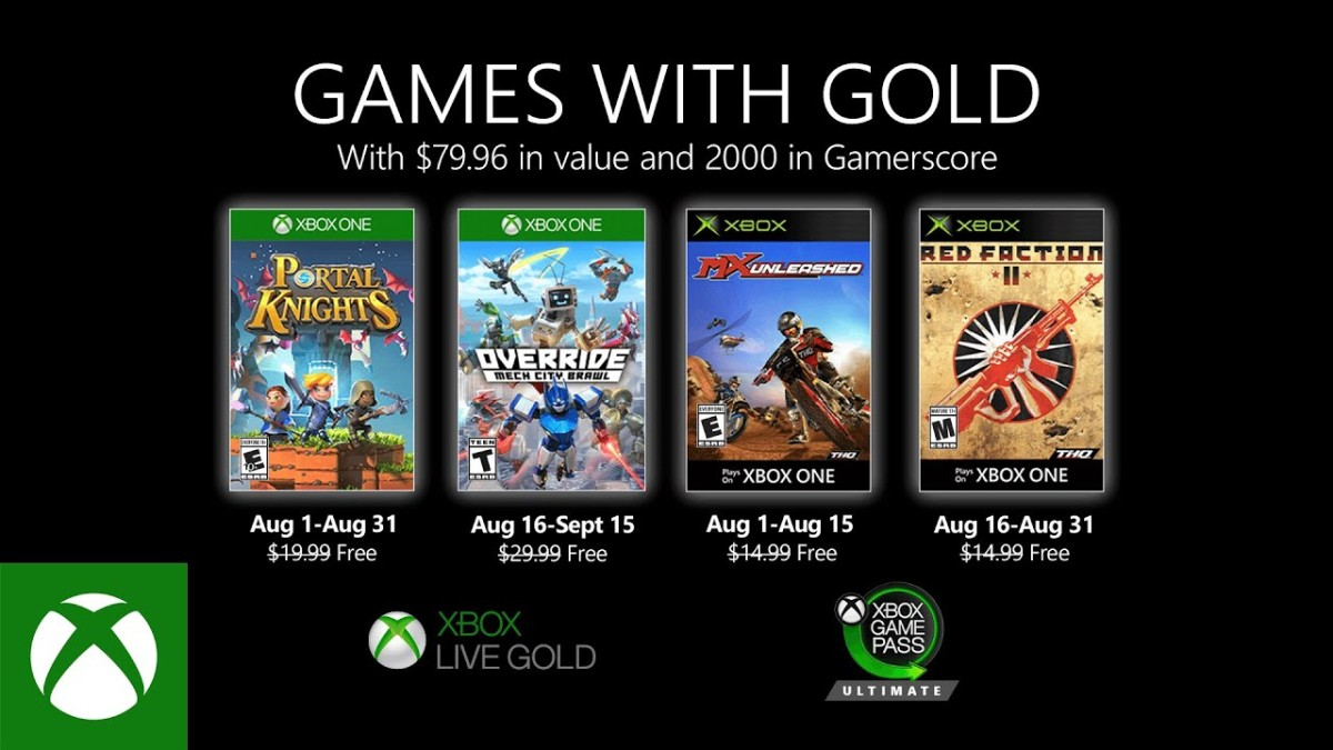 Xbox One Games with Gold de Agosto2020