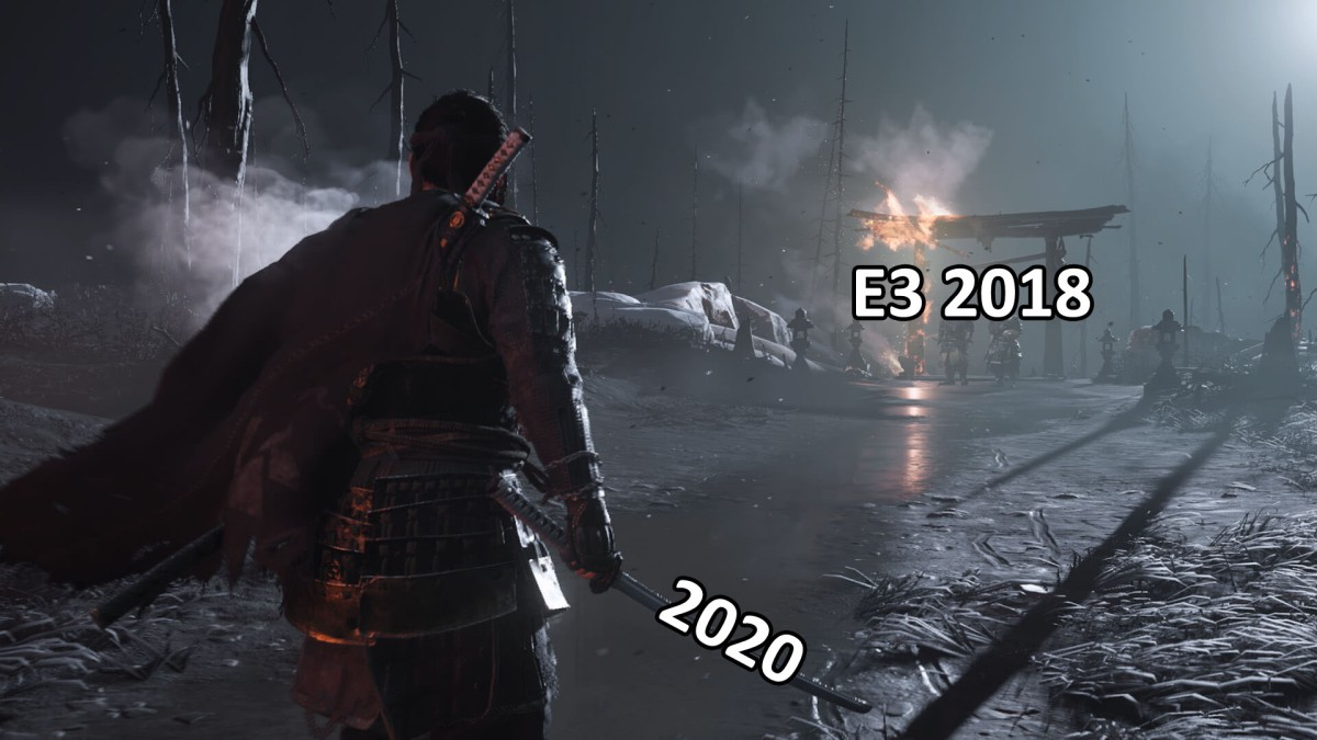 Comparación gráfica de Ghost of Tsushima E3 2018 vs Juego final PS4 Pro