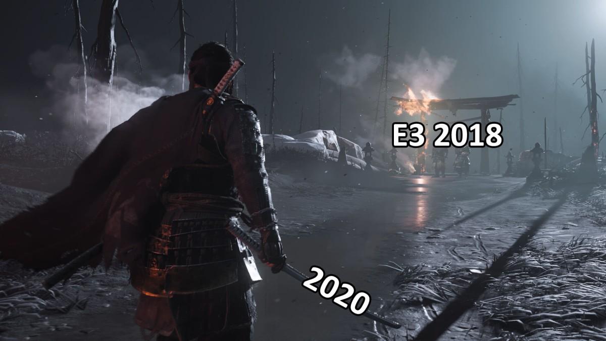 Comparación gráfica de Ghost of Tsushima E3 2018 vs Juego final PS4Pro